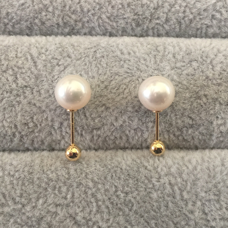 Sinya Natural Round pearls 18k gold beads stud earring for women screw gold ball tight design DIY wear earring 2018 fashion sale (3)
