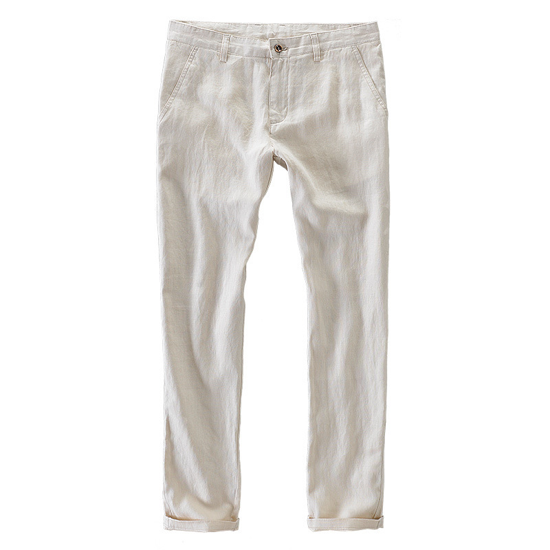 Men/'s summer Slim lin coton droite élastique Pantalon Respirant Pantalon Neuf