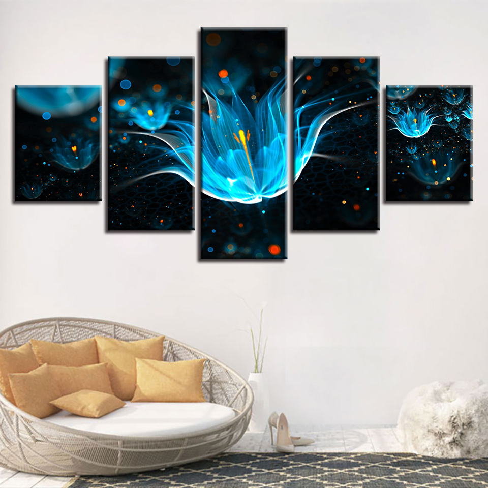 Blue Flowers Painting 5 pcs HD Art Poster Wall Home Decor Canvas Print