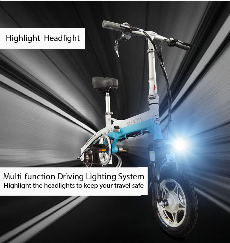 New Electric Bike 36V Two Wheels Electric Bicycle FrontRear Brake System WhiteBlueBlack Adult Folding Electric Scooter (2)