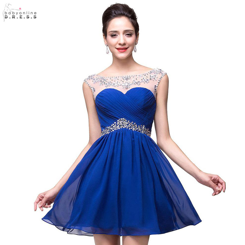 2019-In-Stock-Beaded-Royal-Blue-Red-Short-Mini-Homecoming-Prom-Party-Dresses-Sheer-Neck-Pleated