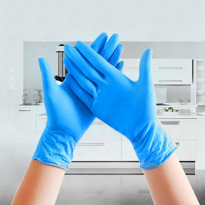 Blue Latex Gloves Waterproof Nitrile Gloves Disposable Glove Rubber Gloves