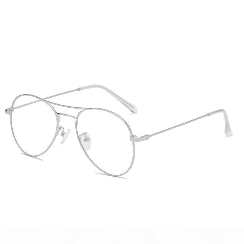 UV protection Blu-ray decorative flat mirror large frame transparent glasses sunglasses black frame white leather