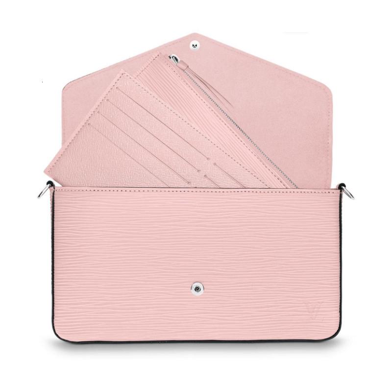 / POCHETTEFELICIE cherry pink chain detachable three-in-one hand, crossbody, one-shoulder ladies handbag M62467