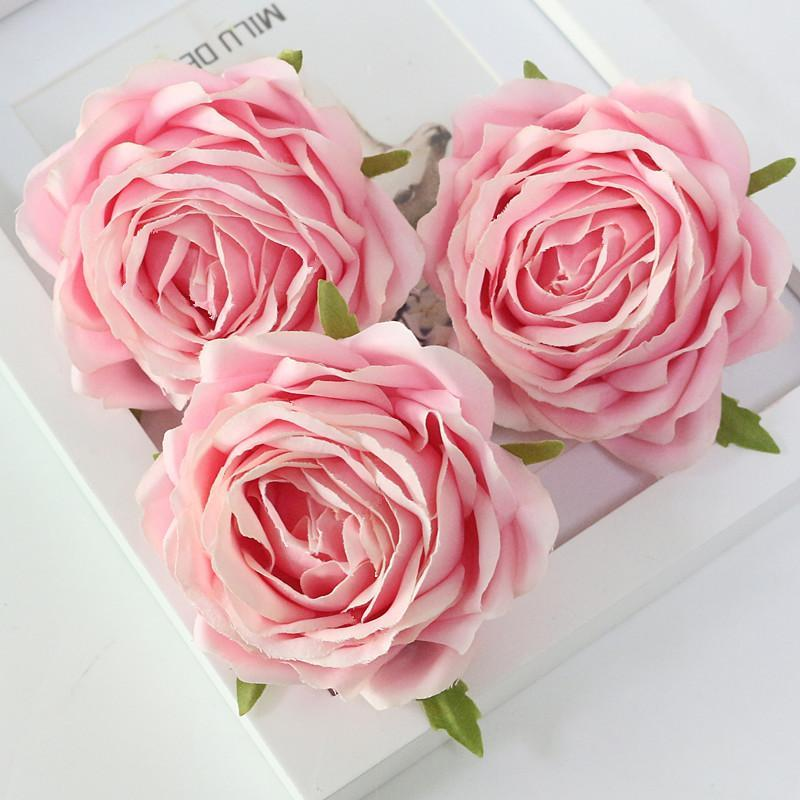 Flone High Quality Artificial Flower Head Retro Rose Head Silk Flower Wedding Christmas Party Decor Flores (5)