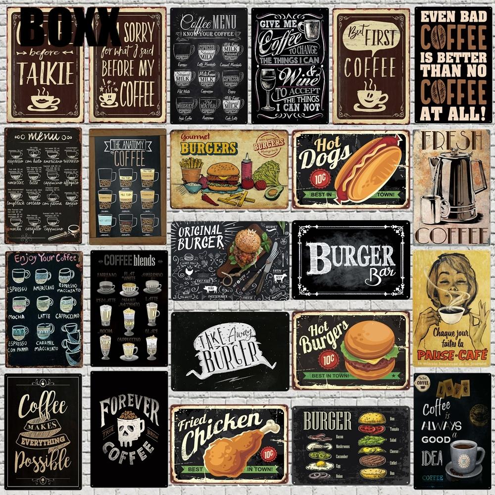 Art Café Menu Chalkboard Pancarte de Métal cuisine Burger Bar Signes muraux  décoratifs Café Boutique Accueil Art Artisanat Décor 16x16cm