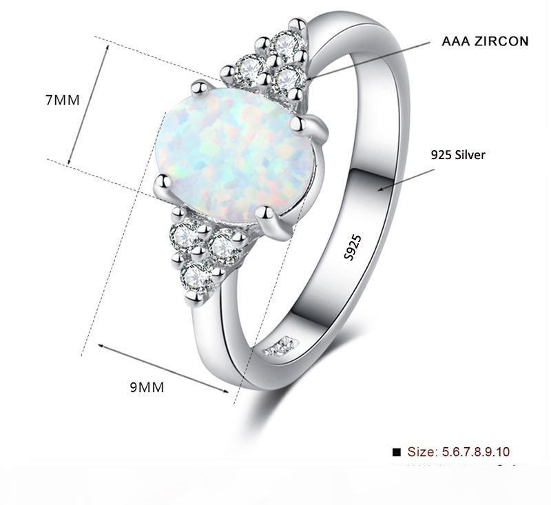 Amzing Shiny Round Cut Rainbow White Fire Opal gemstone silver rings Taille 7