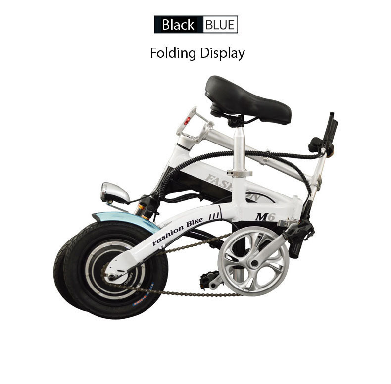 New Electric Bike 36V Two Wheels Electric Bicycle FrontRear Brake System WhiteBlueBlack Adult Folding Electric Scooter (15)