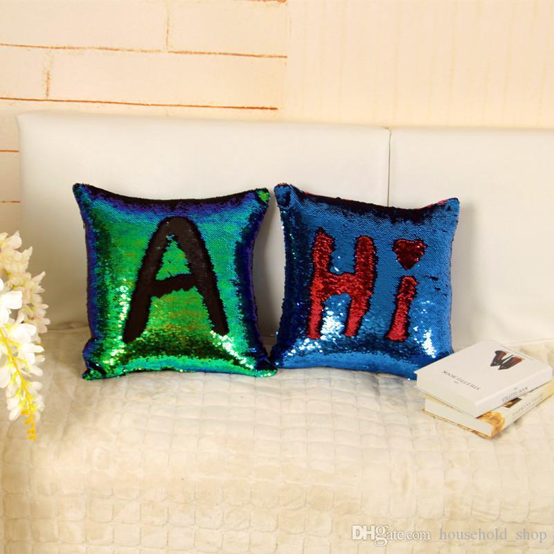 Sequins Mermaid Pillow Case Cushion Pillow Cover Throw Cushion Case Magic Reversible Sequin Pillow Cushion Wholesale Free DHL