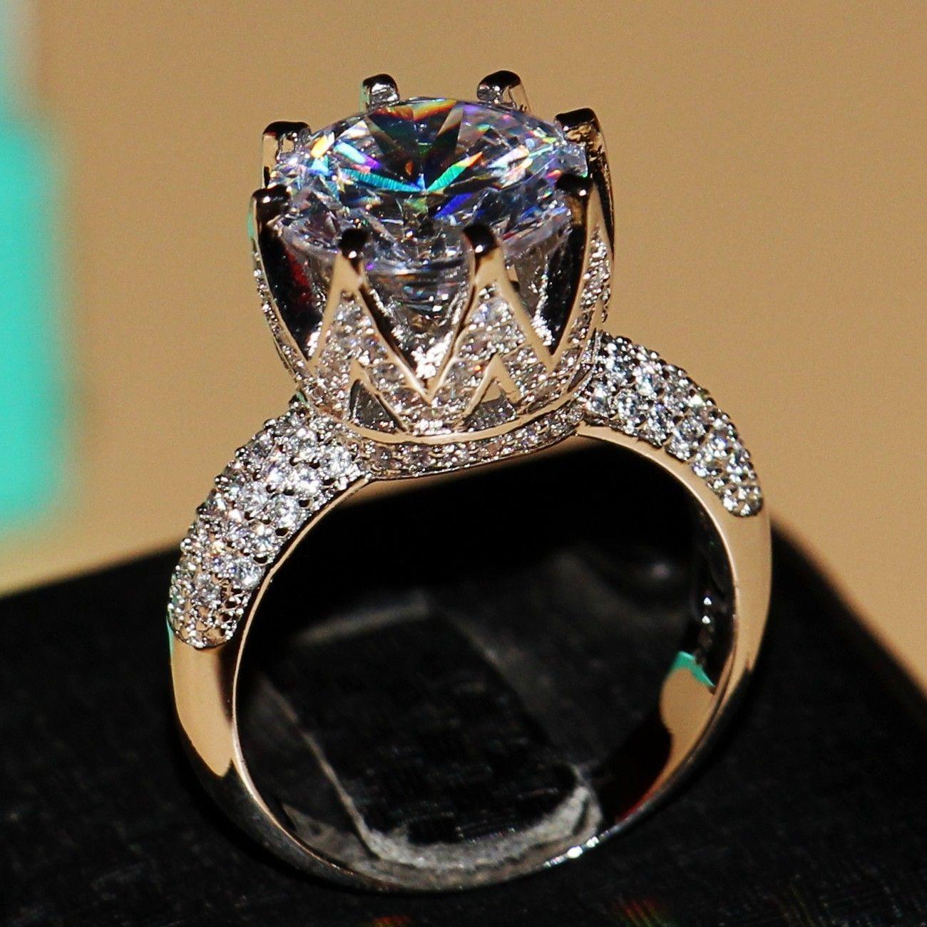 Nobles damas joyas reales 925 Sterling anillo de plata circonita compromiso boda.