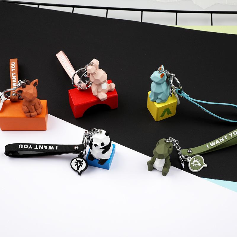 2019 New Fashion Cute Dinosaur Keychain Key Ring Fashion Cartoon PU Key Chain Creative Car Bag Phone Key Ring (12)