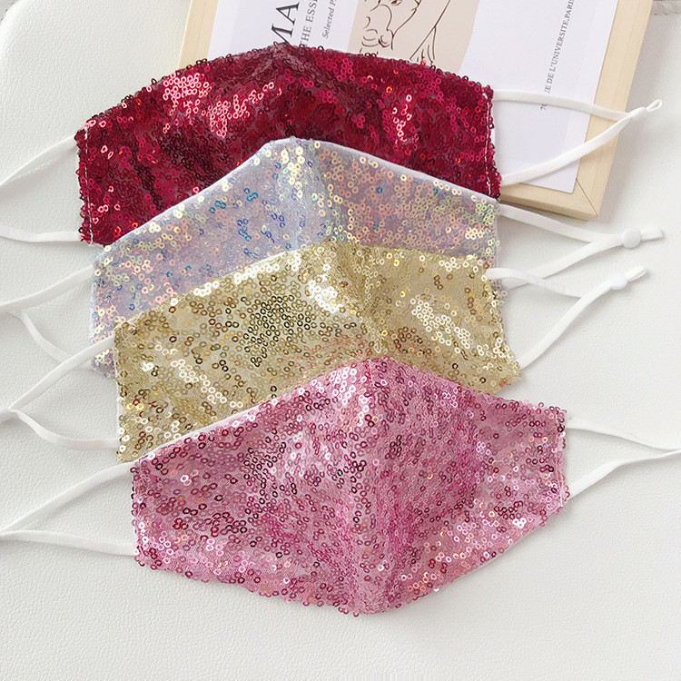 hot Mouth Mask Dustproof Washable Women and men pink Sequin Face Mask Glitter Shiny Cover Designer masks T2I51153-1