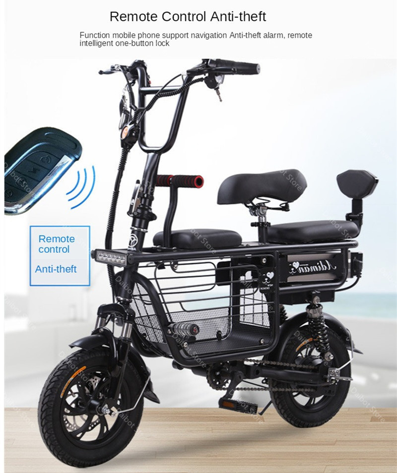 Daibot Electric Bike Bicycle Parent-child Two Wheels Electric Bicycles 48V 80KM Smart Portable Electric Scooter With Three Seats (6)