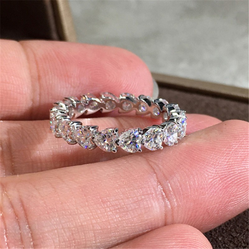 Choucong Brand New Classical Heart Jewelry Real 925 Sterling Silver Pear Cut White Topaz CZ Diamond Party Gemstones Women Wedding Band Ring