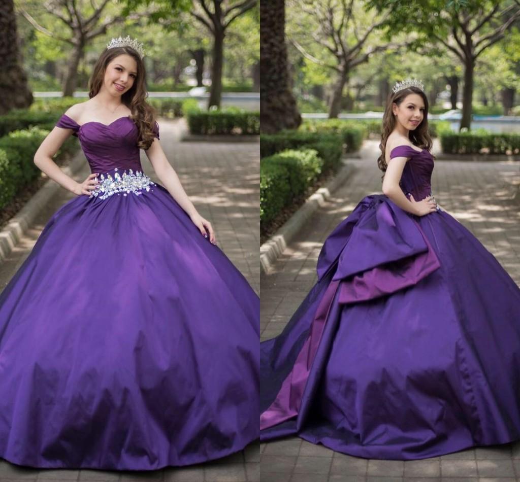 simple purple satin günstige quinceanera abendkleider strass lange weg von  der schulter prinzessin sweet 16 kleid vastidos de-kleid