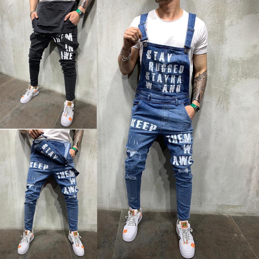 Compre Hombres De La Moda Rasgado Letra Impresa Jeans Monos Hola Calle Apenada Dril De Algodon Peto Para El Hombre Los Pantalones Con Tirantes Tamano S Xxl A 14 12 Del Fjx524284585