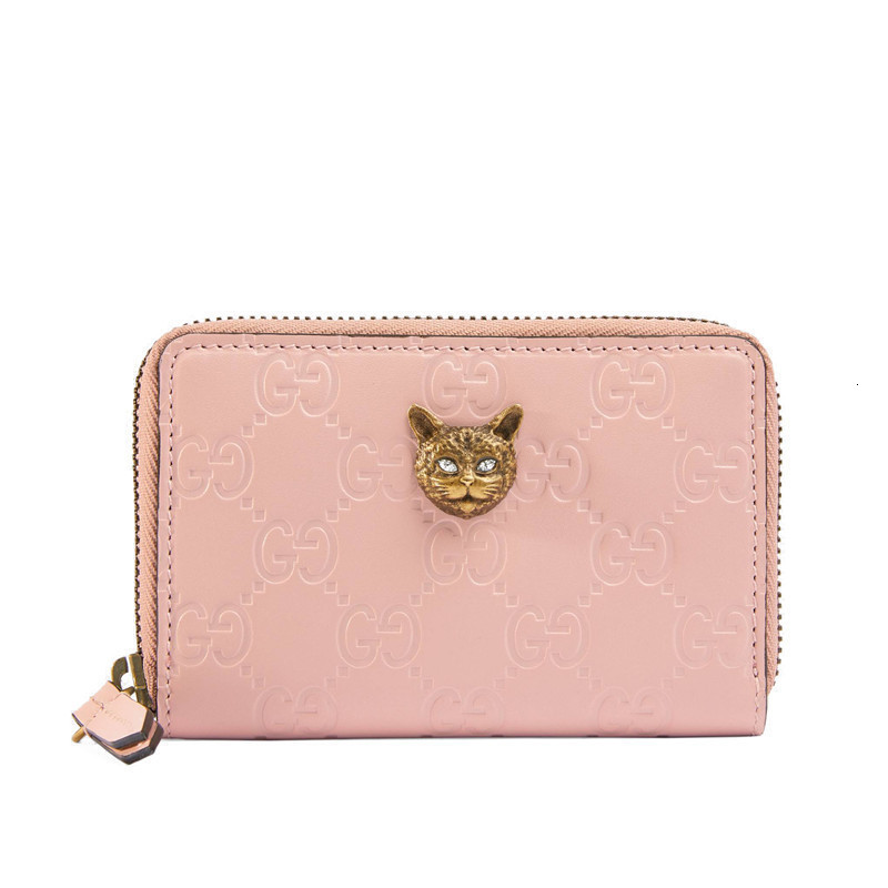[Package tax]  /  19 spring and summer new  Signature ladies pink iconic leather and metal cat head pattern card package 548064 0G6FT 5877