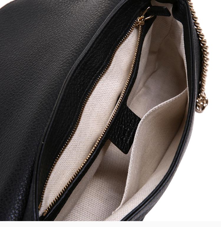 [Package tax]  /  19 spring and summer ladies black double G leather tassel decorative shoulder bag shoulder bag Messenger bag