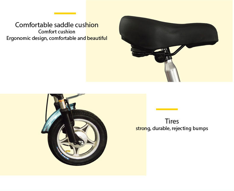 New Electric Bike 36V Two Wheels Electric Bicycle FrontRear Brake System WhiteBlueBlack Adult Folding Electric Scooter (5)