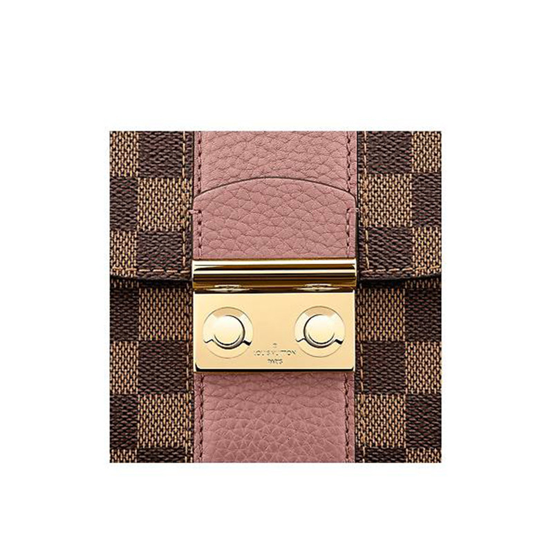 / WIGHT Classic Brown Plaid with Pink Fashion Casual Women's Crossbody Shoulder Bag N64418