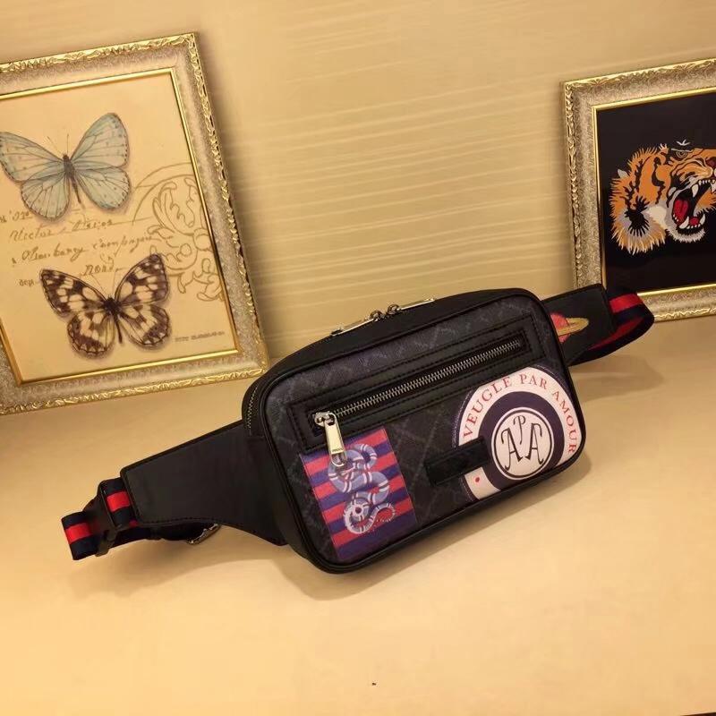 Top quality Hot famous Fashion casual men Waist Bags W24xH14xD5cm Leathers Bag printed designer Waistpacks #474293