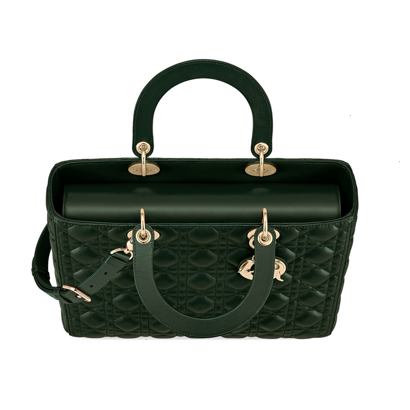 [Package tax]  /  19 spring and summer new LadyDior ladies seven grid black gold sheepskin handbag (3 colors optional) M0566ONGE_M900
