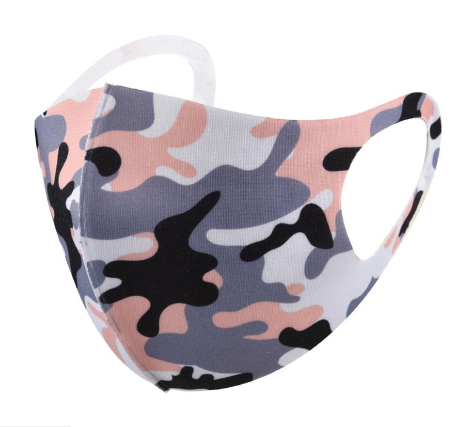 Camouflage Face Mask Camo mask Cover Anti-bacterial PM2.5 Respirator Dustproof Washable Reusable Silk Cotton Masks Packaging adult