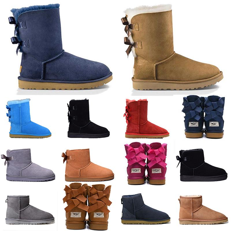 ugg bottes de créateurs de mode Australie femmes fille bottes de neige classiques noeud papillon cheville court arc fourrure botte d'hiver pour femmes
