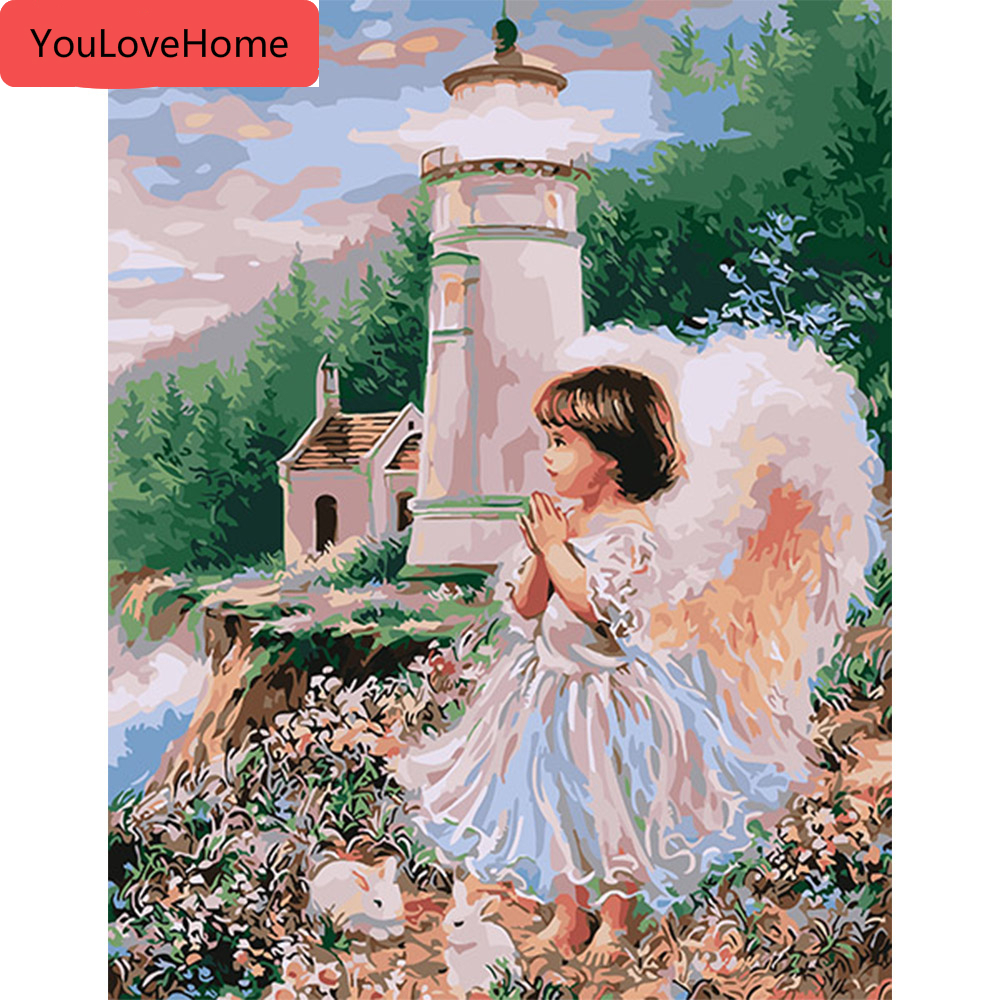 Diy Oil Painting Paint By Numbers Kit For Adults Kids Beginner,Christmas Tree Angel Woman,16X20 Inch