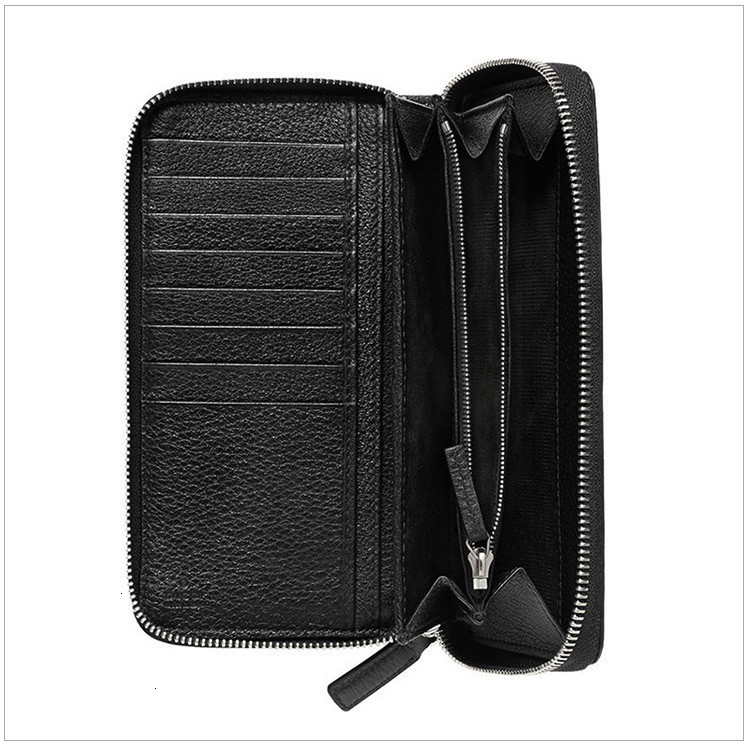 men's black leather LOGO printing long zipper wallet black