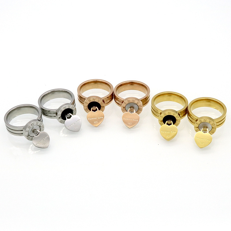 The middle section of the Rome explosion of digital disk shell agate rings hanging heart Forever Llove titanium ring