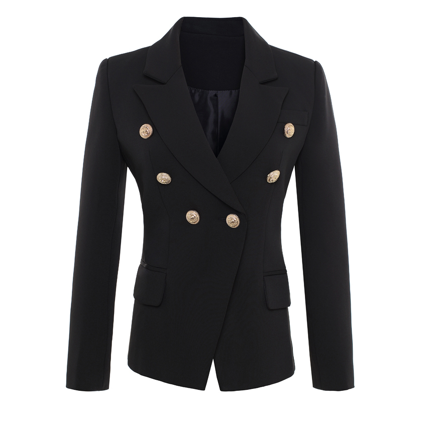 HIGH-QUALITY-New-Fashion--Runway-Style-Women-s-Gold-Buttons-Double-Breasted-Blazer-Outerwear-Plus