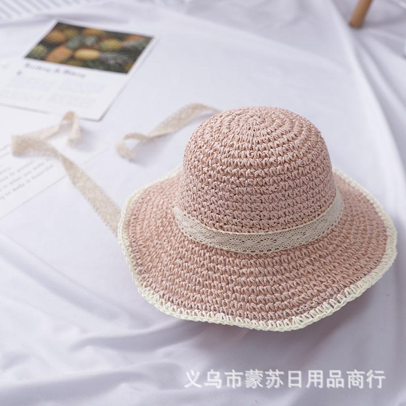 Papel Niñas Verano Tipo Fedora Trilby Sol Sombrero Rosa De Cinta Ajustable de 2-4 años