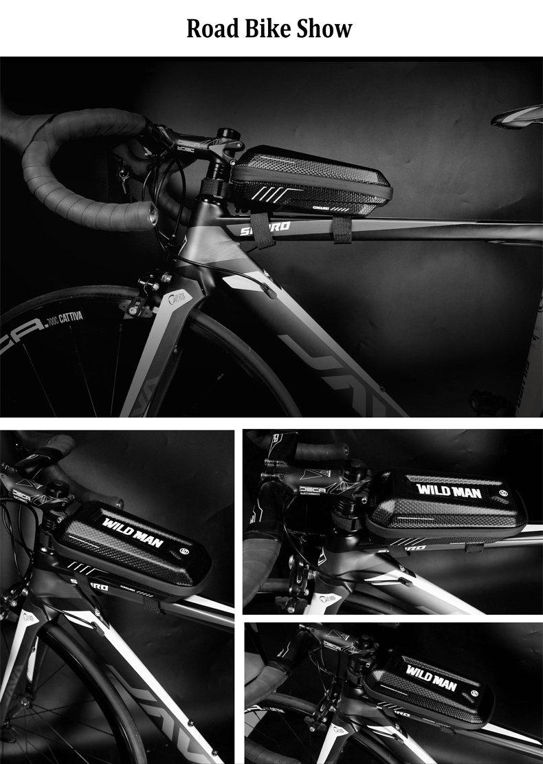 WILD MAN Bicycle Bag Triangle Frame Pannier MTB Road Cycling Top Tube Bag EVA Shell Waterproof for Repair Tools bolsa bicicleta (16)