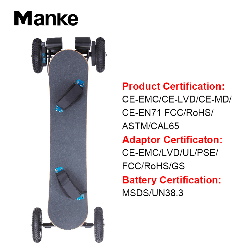China Supplier Manke 1650W*2 Powerful 4 wheel off-road electric skateboard with high performance skate board electric