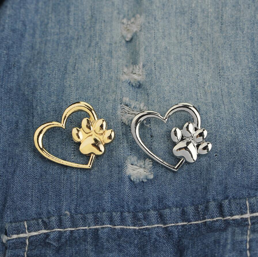 Silver Gold Color Love Heart Paw Lapel Pin Pet Paw Print Pet Loss and Pet Memorial Pins Jewelry Dog Cat Lover Gifts