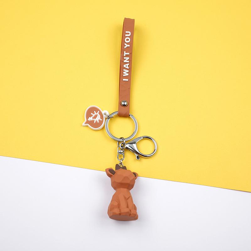2019 New Fashion Cute Dinosaur Keychain Key Ring Fashion Cartoon PU Key Chain Creative Car Bag Phone Key Ring (18)