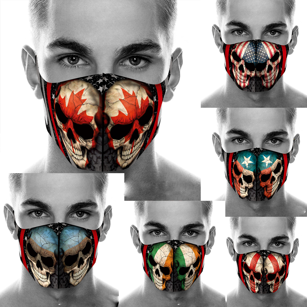 reusable American flag ghost head around the printing mask game dust mask Halloween skull cosplay masks designer face mask cotton cover