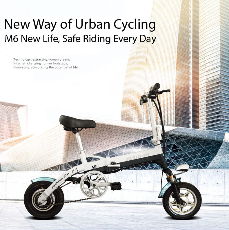 New Electric Bike 36V Two Wheels Electric Bicycle FrontRear Brake System WhiteBlueBlack Adult Folding Electric Scooter (16)