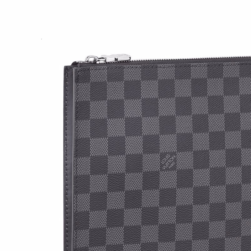 /  new men's gray black checkerboard large clutch N64437