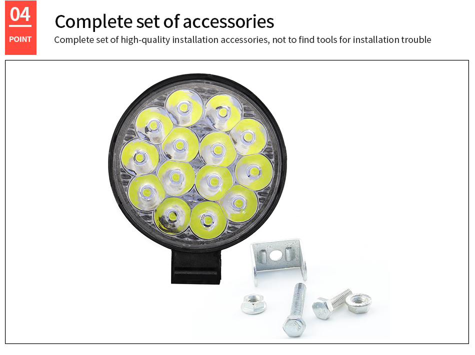DXZ Motorcycle spotlight 42W 6000K 4200LM Circular Waterproof LED Work Light for Off-Road Suv / Boat / 4X4 Jeep / Truck