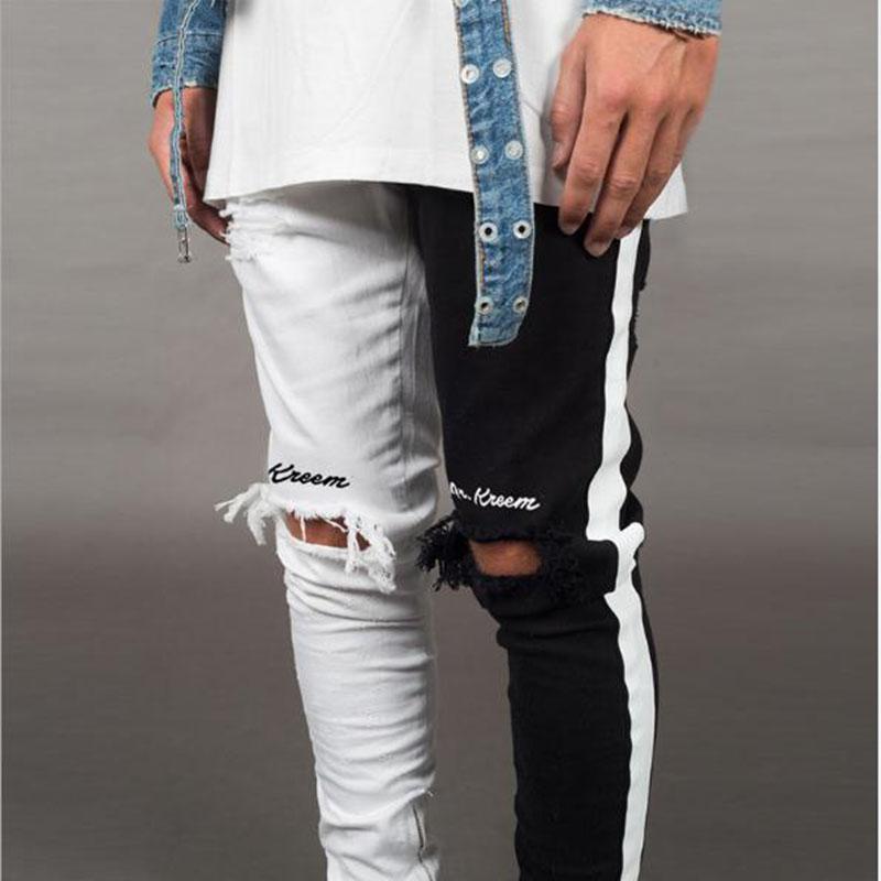 Ebaihui Casual Straight Elasticity Pants Jeans Pants Biker Skinny Slim Straight Frayed Denim Trousers New Fashion Skinny Jeans Men Clothes