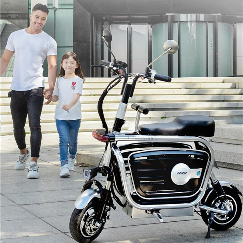 Electric Folding Bicycle Two Wheels Electric Bicycles Electric Scooter For GirlsLadies With SeatPet Basket 48V 80KM 40KMH (17)