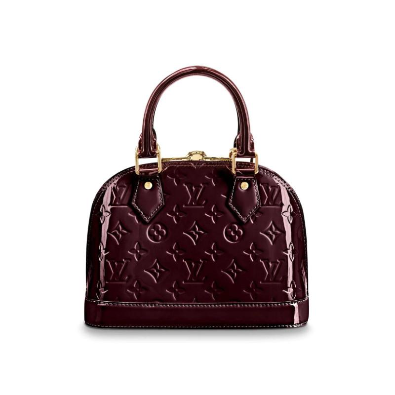 /  classic ALMA BB patent leather, fuchsia, ladies messenger bag M91678 grape purple