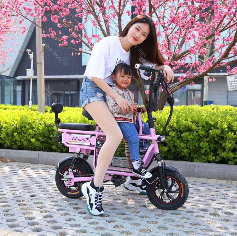 Daibot Electric Bike Bicycle Parent-child Two Wheels Electric Bicycles 48V 80KM Smart Portable Electric Scooter With Three Seats (16)
