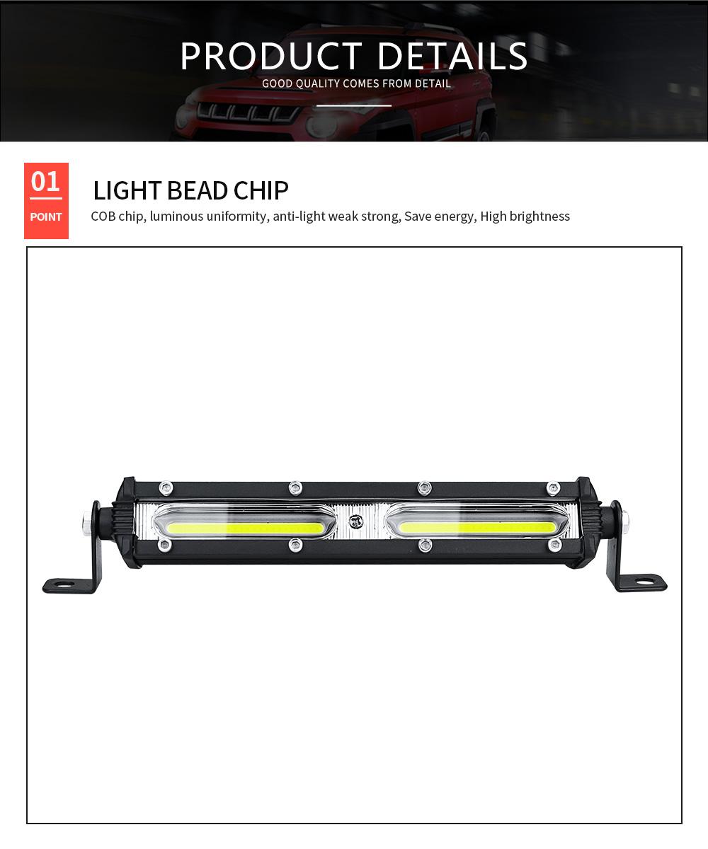 DXZ Ultra-thin Single Row 6 Inch COB 18W Car Work Light Bar LED Strip Light for Off Road Car / SUV / ATV / Truck
