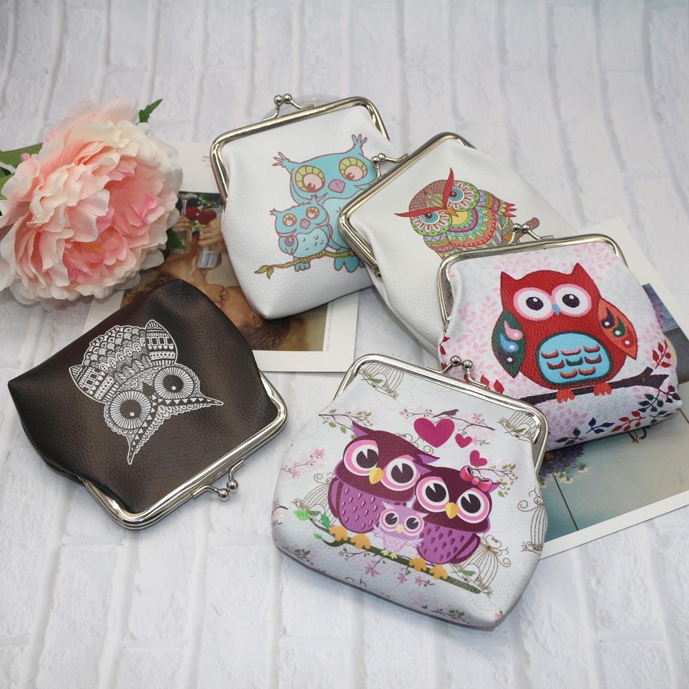Lady/'s Animal Canvas Wallet Owl Cartoon Buckle Bag Mini Bag Lovely Convenient