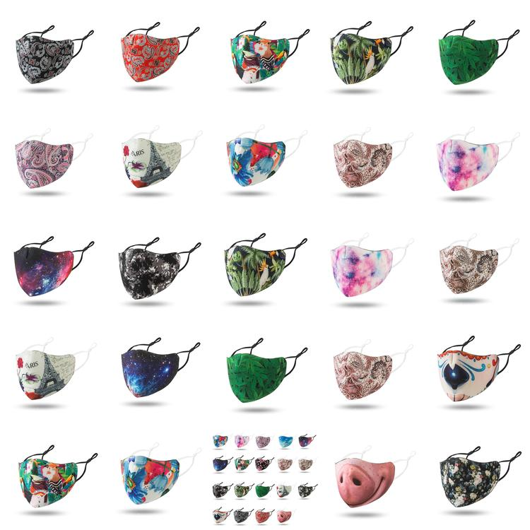 Floral Print Designer Face Mask Reusable Funny Nose Masks Mascherine High Fashion Washable Cloth Black Red Starry Sky Adult bcxzI home2009