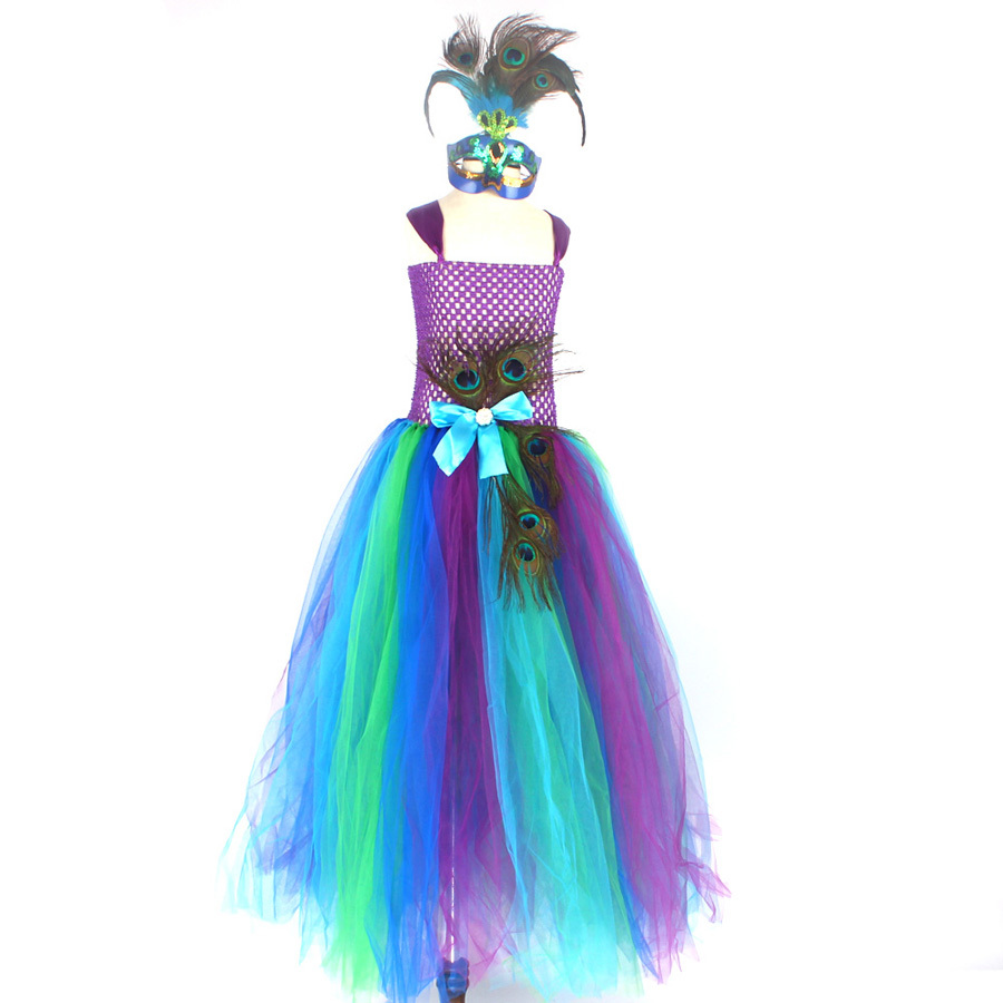 Flower Princess Peacock Costume for Girls Wedding Birthday Party Tutu Dress Kids Pageant Ball Gown Feathers Girl Tulle Dresses (2)