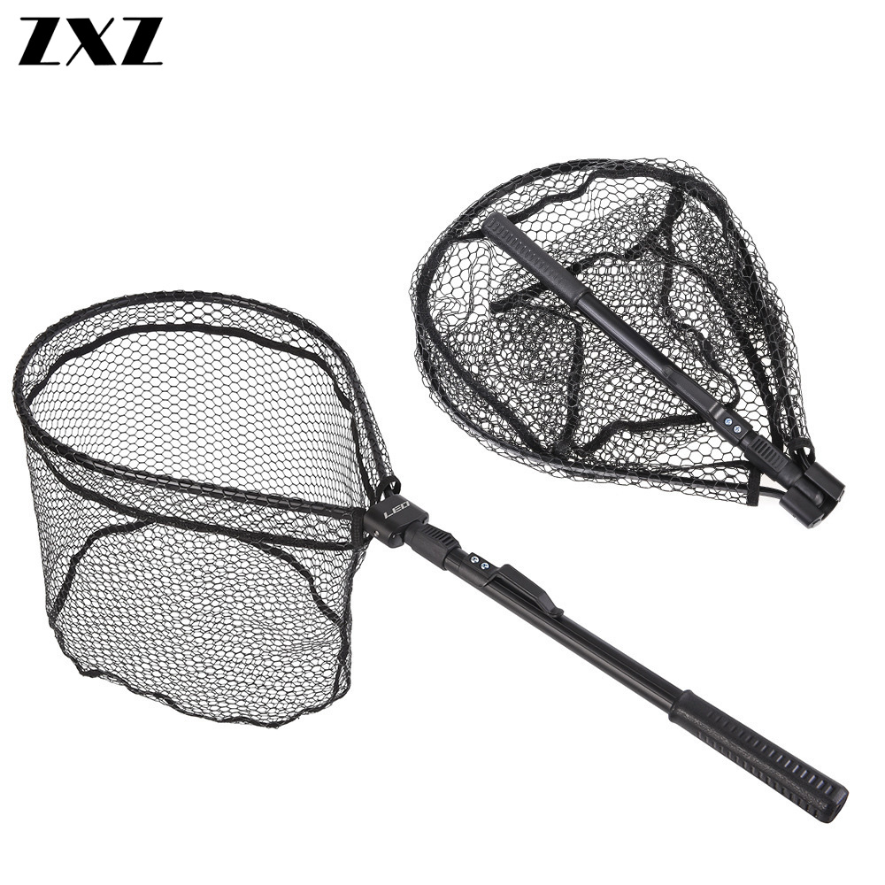 Zusammenklappbar Fischnetz Fisch Kescher Folding Aluminum Handle Durable Nylon Fischernetz